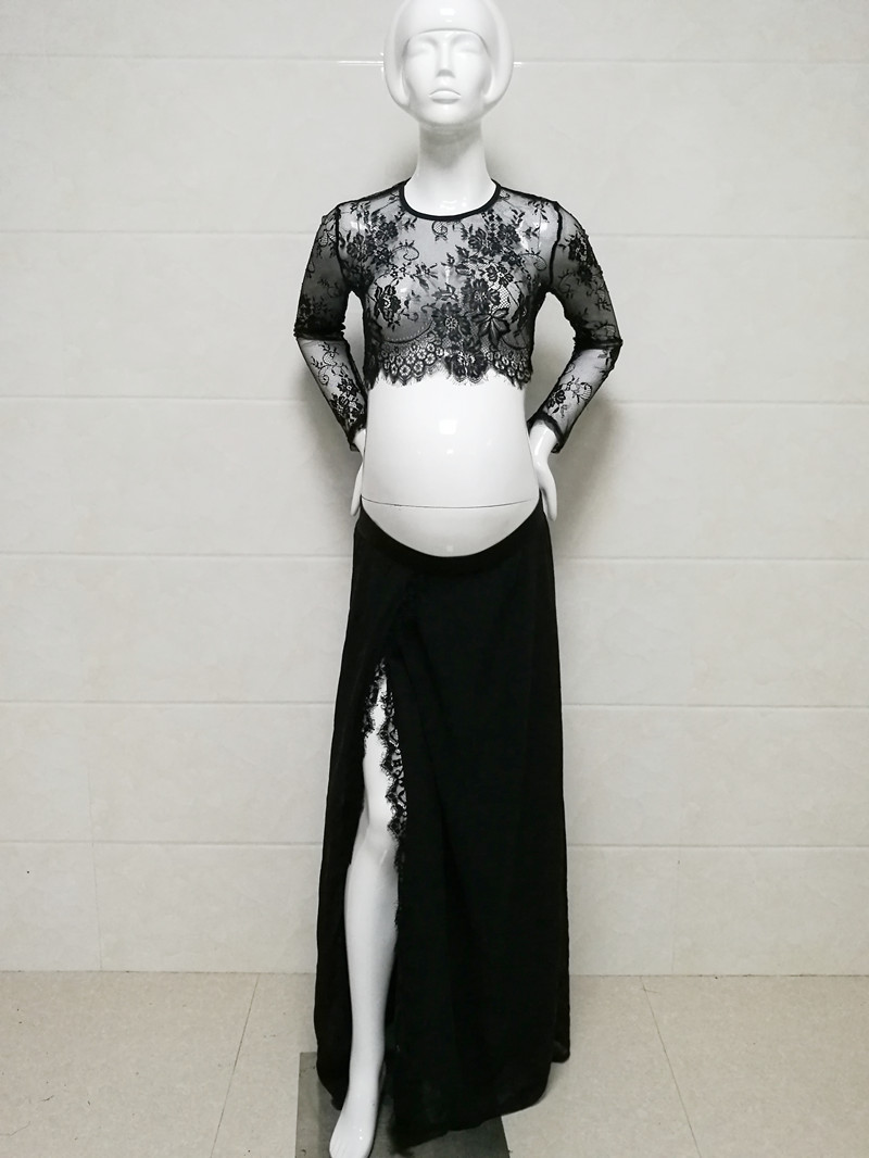 Le Couple Summer Maternity Photo Session Lace Tops Chiffon Skirt Sets Eyelashes Lace Tops Maternity Photograhy