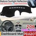 Для peugeot 206 206 + 206cc 206sw CC SW 1998 ~ 2012 Противоскользящий коврик для приборной панели Защита от солнца аксессуары с покрытием 2002