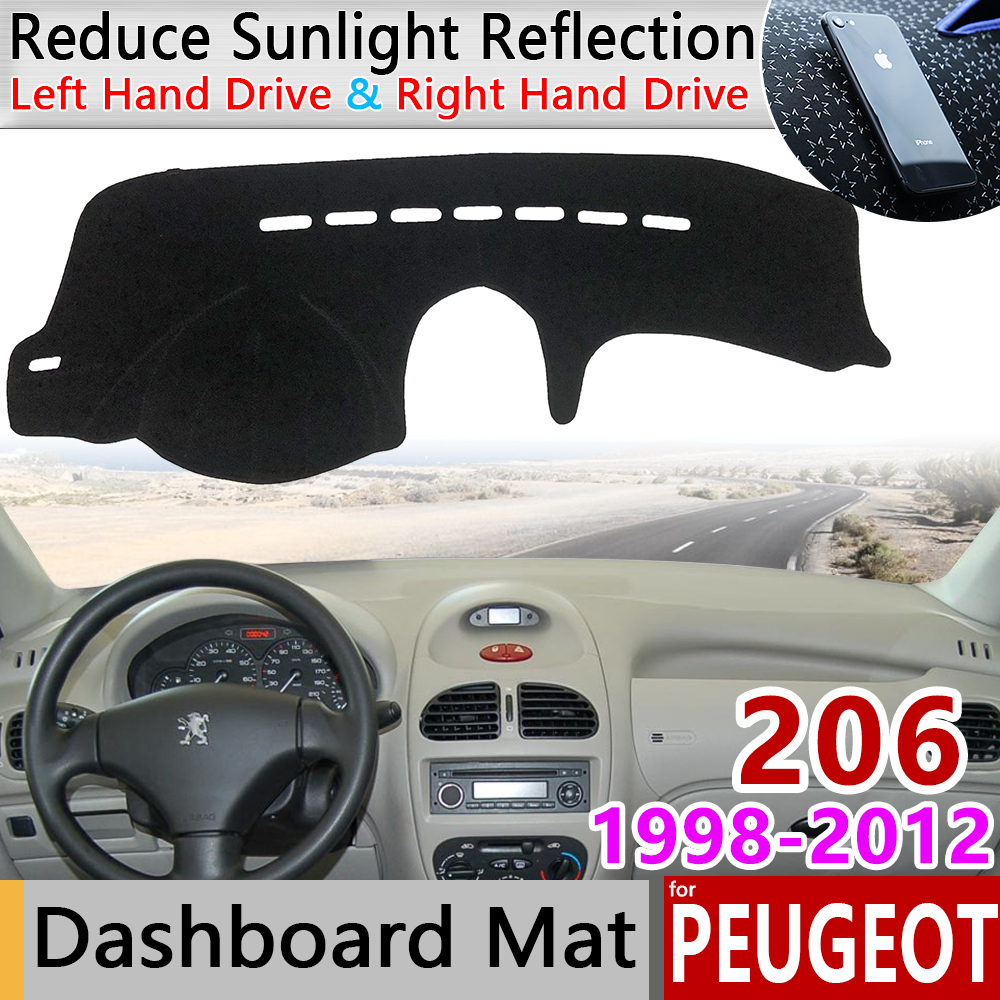 For Peugeot 206 206+ 206cc 206sw CC SW 1998~2012 Anti-Slip Mat Dashboard Pad Sunshade Dashmat Protect Carpet Accessories 2002