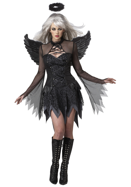 Halloween Black Fallen Angel Costume Devil Angel Cosplay Fancy Dress Dress+Halo+Wing