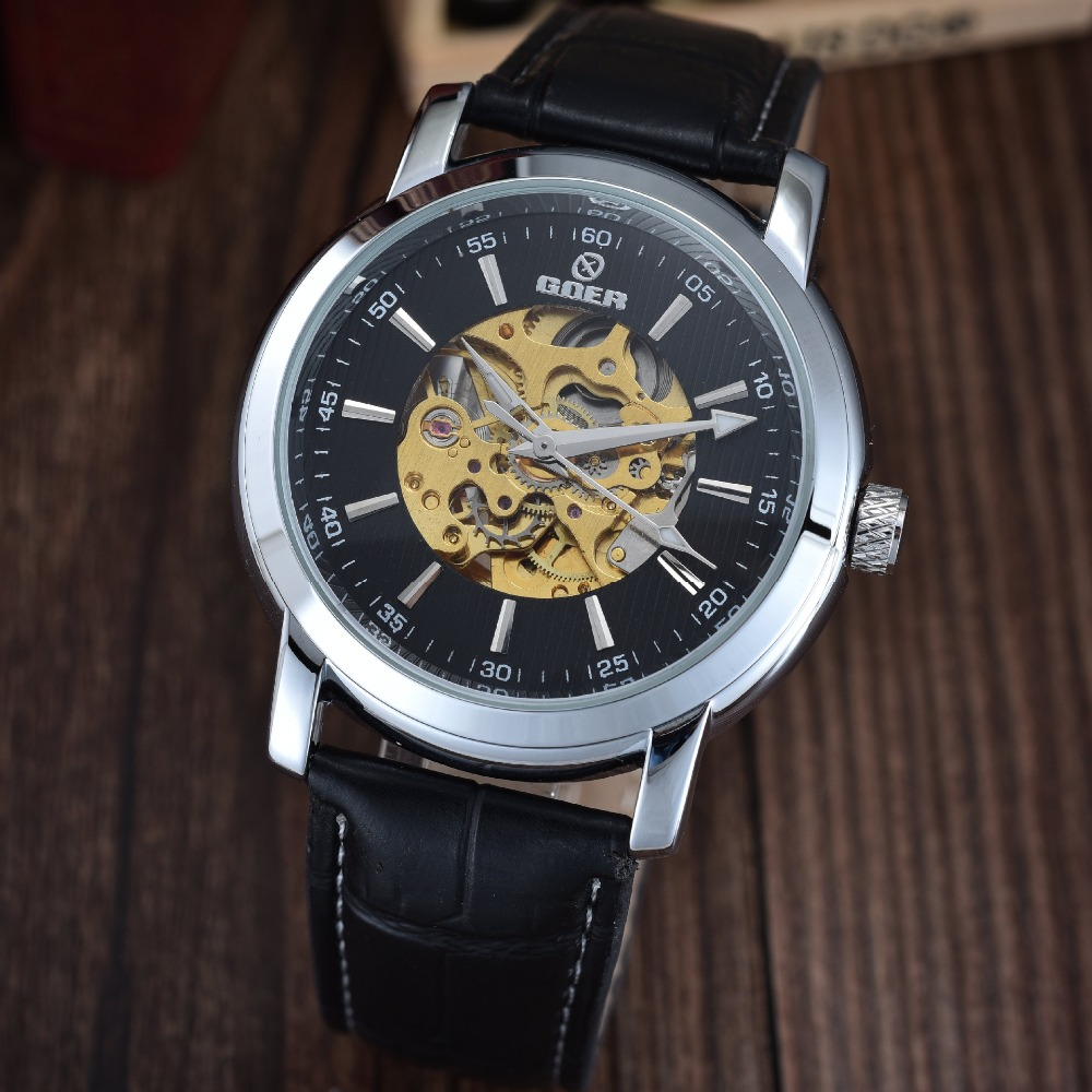 GOER brand Men s sports Mechanical leather Wrist watch Automatic waterproof male Luminous Skeleton digital Man