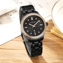 CURREN Heißer Verkauf Saat Uhr Uhr Frauen Mode Kleid Damen Armbanduhr Voller Stahl Wasserdicht Schwarz Relogio Feminino reloj mujer