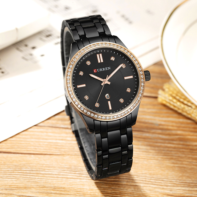 CURREN Hot ขาย Saat นาฬิกาผู้หญิงแฟชั่นสุภาพสตรีนาฬิกาข้อมือเหล็กเต็มรูปแบบกันน้ำสีดำ Relogio Feminino reloj mujer