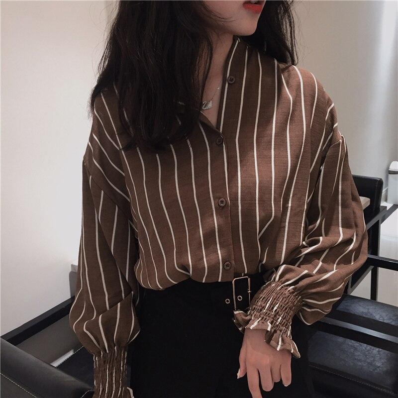 2017 Outono Primavera Do Vintage Camisas Listradas Mulheres colarinho Slim Mulheres Camisas Ocasionais Das Senhoras Estilo Clássico Camisas Femininas Soltas