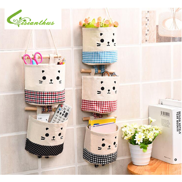 Home Cotton Linen Storage Bag Wardrobe Hang Bag Wall Door Pouch Makeup  Cosmetic Toys Sundries Organizer