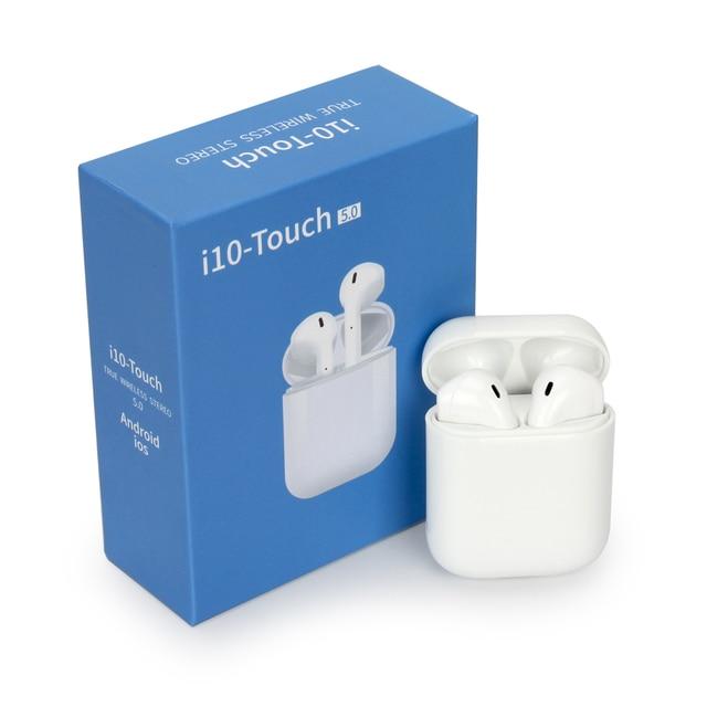 I10 מגע tws אלחוטי תשלום תמיכת אוזניות אלחוטי אוזניות Bluetooth 5.0 אוזניות מגע בקרת אוזניות עבור טלפון חכם