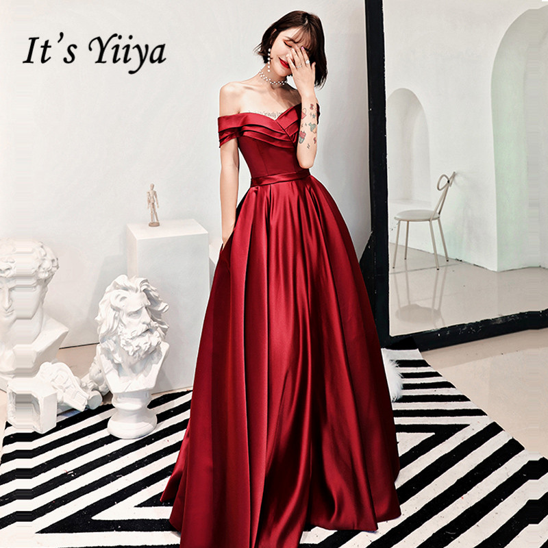 It's YiiYa   Evening     Dress   2018 Wine Red Boat Neck Pleat Ruched A-line Floor-length Dinner Gowns LX1278 robe de soiree