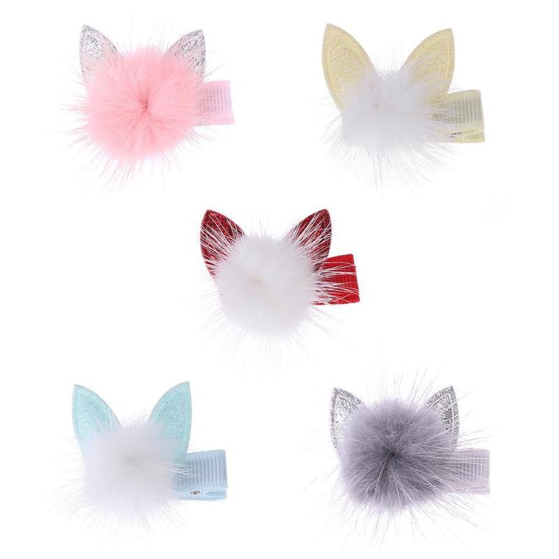 Cute Girls Hairpins Pompom Ear Hair Clips Headwear Jewelry Casual Decor Children Styling Tool NEW Kids Hair Accessories Headwear