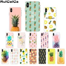 цена на RuiCaiCa Summer Delicious Fruit Cute gold Pineapple Colorful Cute Phone Case for Apple iPhone 8 7 6 6S Plus X XS MAX 5 5S SE XR