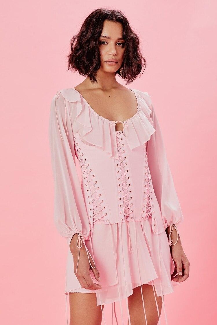 COLOREE Sexy Sommer Rosa Mini Unregelmäßigen Kleid 2019 Neue Mode Rüschen Lace Up Taille dicht Dünnes Kleid Urlaub Strand Kleid - 2