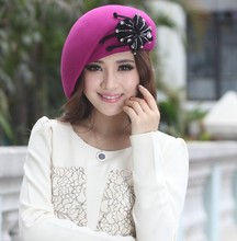 Free Shipping Fashion Ladies Wool Felt Hat Wool Flower Winter Hat Fashion Dress Ladies' 100% Wool Made Two Colors Available