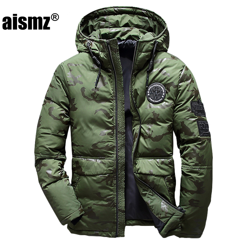 Aismz Men Winter Feather Jacket men s Hooded camouflage parka jackets white man thick jacket ultralight