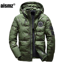 Aismz Men Winter Feather Jacket men's Hooded camouflage parka jackets white man thick jacket ultralight down jacket male donsjas