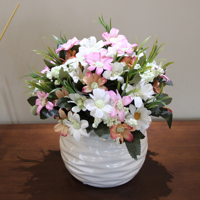 Fleur Artificielle Bonsai Marguerite De Tournesol Ensemble Plante En