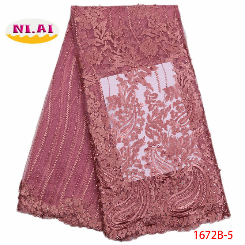 2018 Latest Nigerian Laces Fabrics High Quality African Laces Fabric For Wedding Dress French Tulle Lace With Beads XY1672B-5 high quality swiss voile lace 2016 african voile swiss lace fabric african swiss cotton voile lace fabric wb10518150jsd7