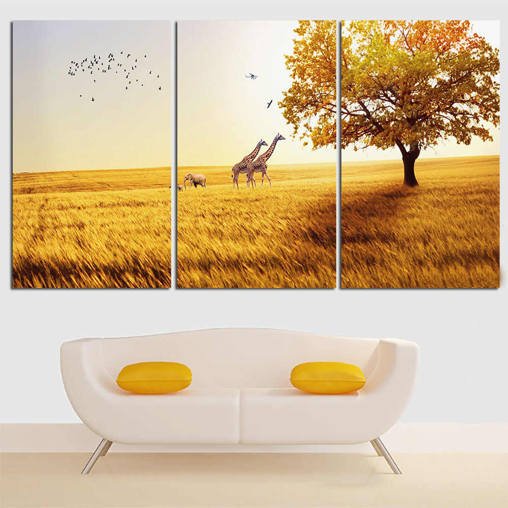 Deer Canvas Painting Animal Landscape Yellow Poster and Print Home Decor Wall Art Oil Picture for Living Room No Frame 3 Pieces