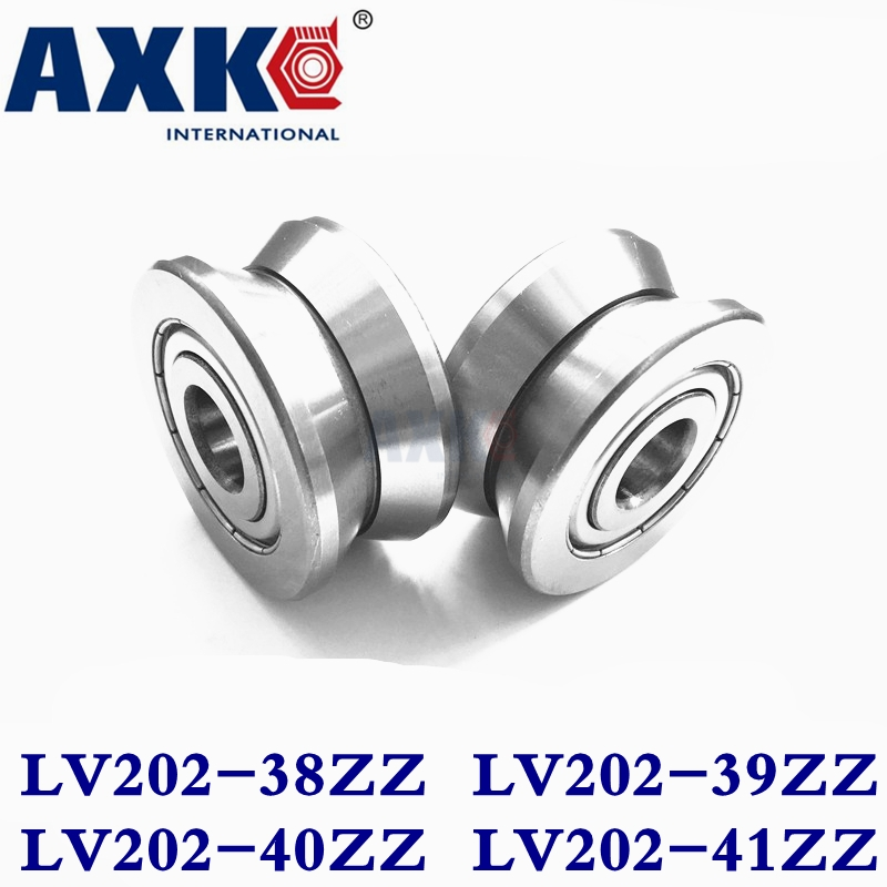 Axk V Groove Guide Roller Bearings Lv202-38zz Lv202-39zz Lv202/40 Zz Lv202-41zz Abec-5 Pass Through 10mm/20mm Cylinder Id 15 Mm 4mm walking guide rail groove u groove 604uu 4 12 4 5 mm 3d printer dedicated feeding roller bearings u604w5 u604zz
