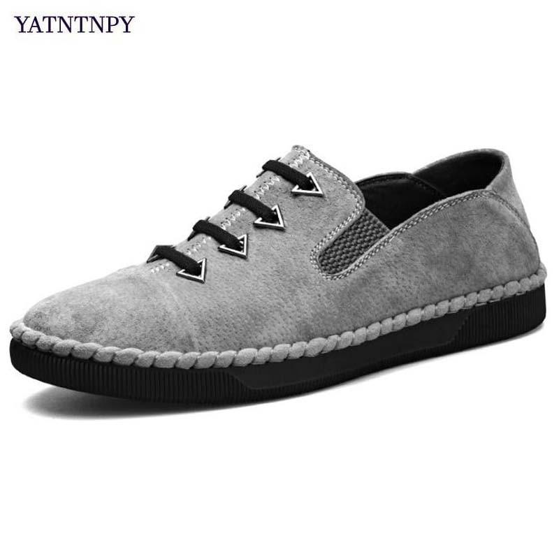 YATNTNPY nouvelle marque véritable vache daim cuir chaussures homme chaussures décontractées hommes de haute qualité plat oxford rétro sneaker chaussures en cuir
