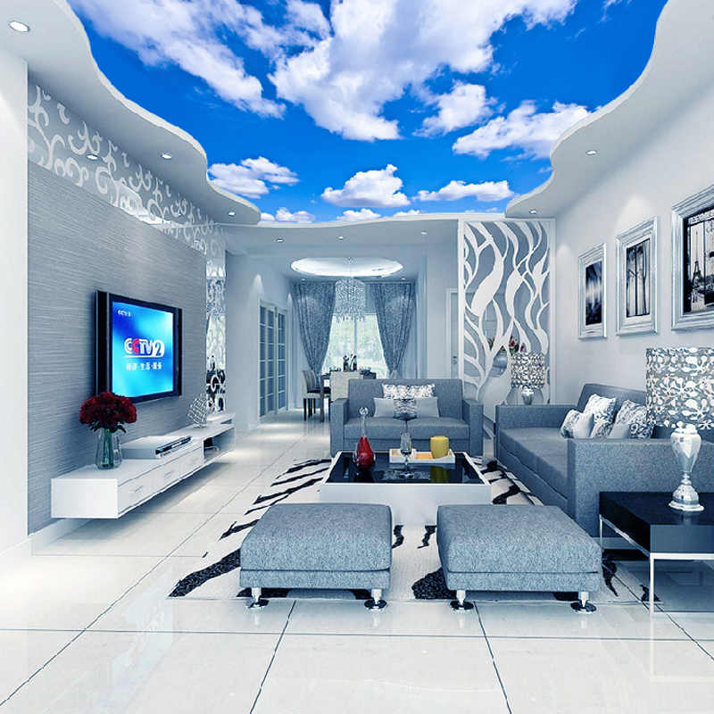 Custom Ceiling Mural Wallpaper 3d Blue Sky And White Clouds Living