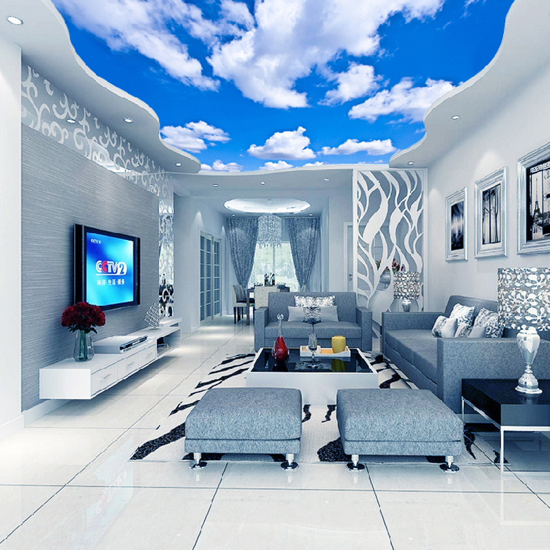 Custom ceiling mural wallpaper 3d blue sky and white for 3d wallpaper of house