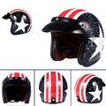 Men Women Harley Motorcycle Helmet Bike Helmet Captain America Scooter Open Face Half Leather Helmet with Visor Goggles Retro