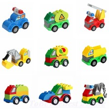 Legoing Duplo Car Particles Building Blocks Accessories Big Bricks Cars Fire Truck Toys Gift Compatible Creator Duploe Legoingly(China)