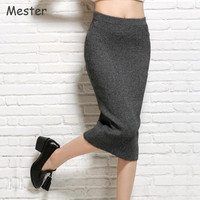 2017 Spring Women All Match Wool Knitted Bud Skirt Office Ladies Elastic High Waist Knitted Pencil