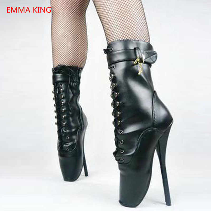 ff95b5925af 18cm Extreme High Heels Boots Hoof Heelless Ballet Ankle Boots Pointed Toe  Sexy Lockable Zipper Women