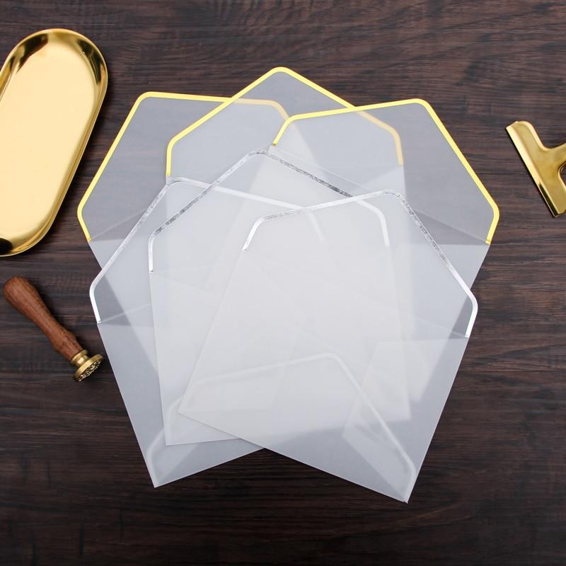 20pcs/set Hot Stamping Printing Paper Envelope Transparent Sulfuric Acid Paper Envelope Wedding Letter Invitation Anniversary
