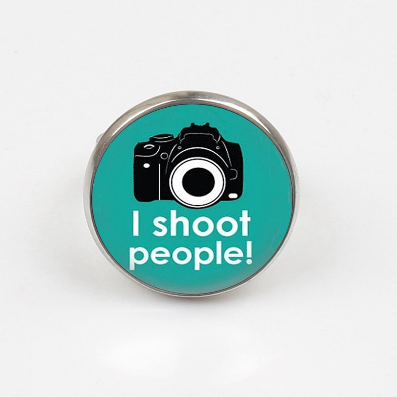 2019 I Shoot People ring for Photographers Funny Art Geek Art ring Camera print glass ring in Rings from Jewelry Accessories