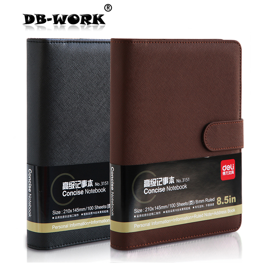 2018 Deli stationery leather notebook thick Notepad 3151 8.5 Inch 100 page business office notepad аксессуар чехол сумка 11 inch cozistyle smart sleeve black leather clnr1109 page 2 page 3
