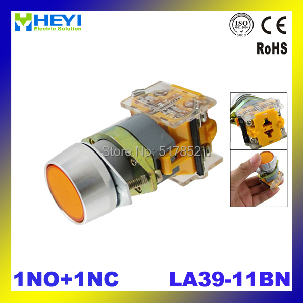 Orange Sign Momentary Press Push Button Switch LA39-11BN Non Lock 22mm 1 NO N/O 1 NC N/C