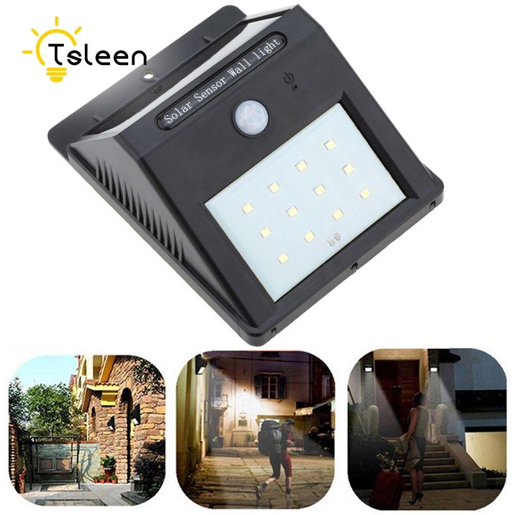 TSLEEN 2Pcs font b LED b font Solar Power PIR Motion Sensor Wall Light Outdoor 12Leds