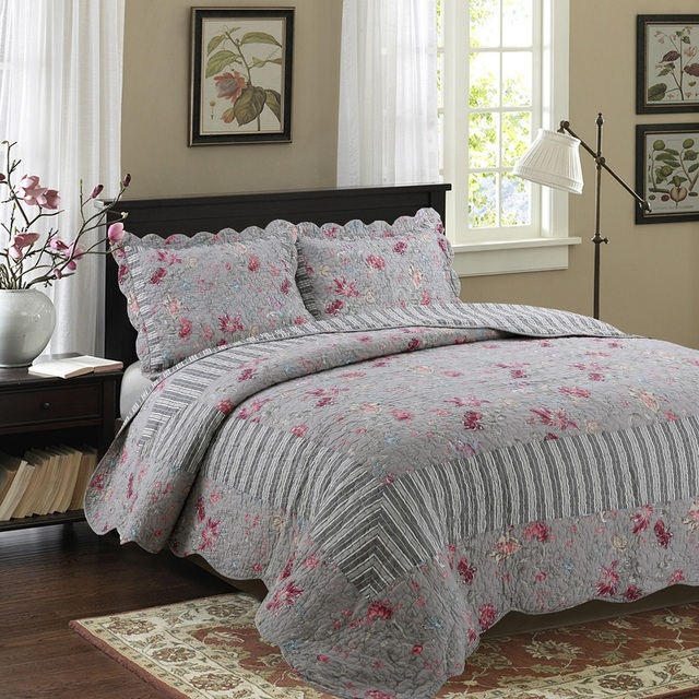 Chausub Quality Cotton Quilt Set 3pcs King Size Patchwork Bedspread Quilted Bed Cover Sheets Pillowcase Coverlet Blankets