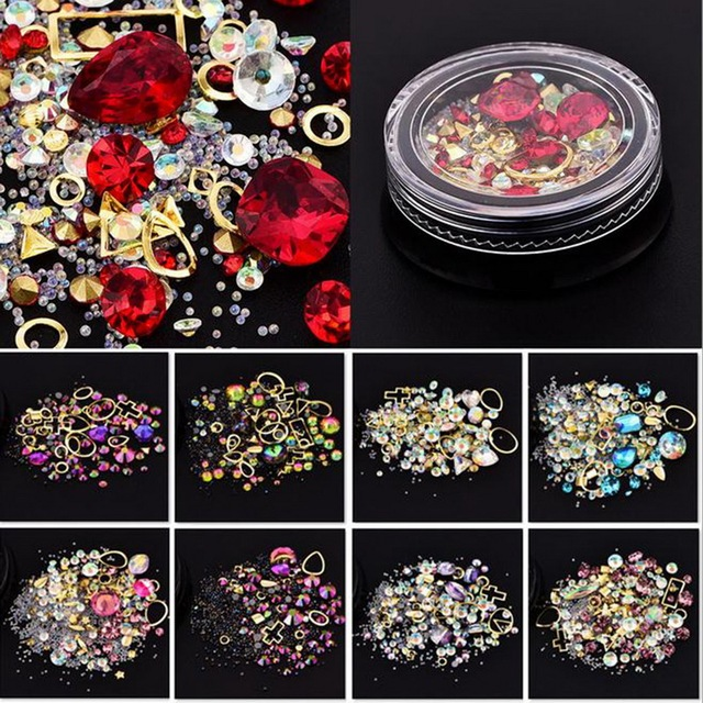 Diamantes de imitación de cristal rotos acrílicos mezclados para uñas Marco de aleación de Metal decoración de uñas DIY manicura 3D decoración de uñas gemas