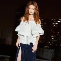 Runway Women Blouse Shirt Top 2018 Off Shoulder Korean Spring Women Office Summer Elegant White Blouses