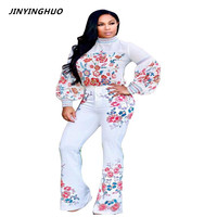 JINYINGHUO Sexy Two Piece Jumpsuit 2017 Autumn Ruffle Sleeve Full Bodysuit Floral Print Tight Rompers Womens