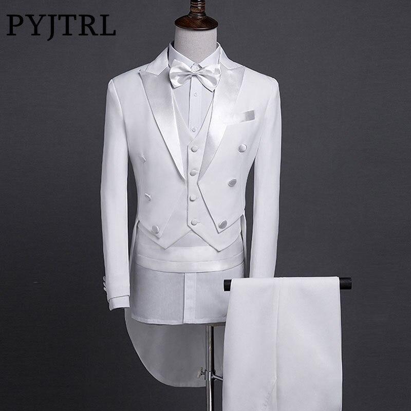 PYJTRL Mannen Slim Fit Shiny Bruiloft Bruidegom Pak Mode 5 stuks Set Staart Jas Tuxedo Roken Homme Podium Zanger Prom jurken