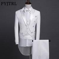 PYJTRL Men Slim Fit Shiny Wedding Bridegroom Suit Fashion 5 Pcs Set Tail Coat Tuxedo Smoking Homme Stage Singer Prom Dresses