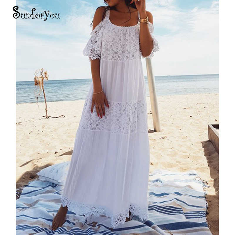 cb53eb6620 Detail Feedback Questions about New Lace Cotton Long Beach Cover up Saida  de Praia Sarong Vestido Playa Bikini cover up Maxi Beach Dresses Tunic for  Beach ...