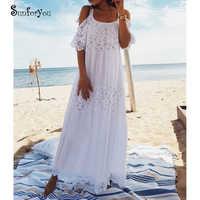 Nuevo Vestido de Playa largo de algodón de encaje para cubrir Saida de PRAI Sarong Vestido Playa Bikini cubrir Maxi vestidos de Playa túnica para la Playa