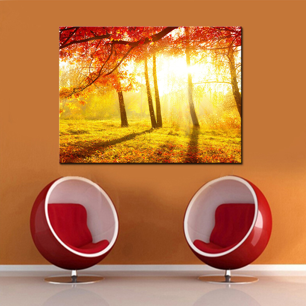Wall Art Canvas Painting Home Decor HD Prints 1 Piece/Pcs Red Tree ...