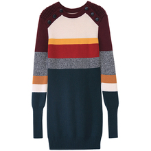 high quality sweater women's winter runway fashion wool sweater knitted rainbow striped warm thick long pullovers sweater jumper