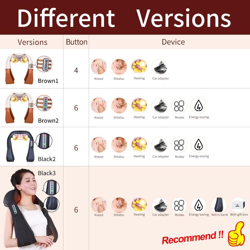 (with Gift Box)JinKaiRui U Shape Electrical Shiatsu Back Neck Shoulder Body Massager Infrared Heated Kneading Car/Home Massagem 6
