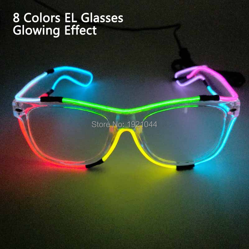 New Style 8 Colors EL Wire Glowing Glasses Glow Party Props Night fluorescent Glasses Colorful Glasses Christmas Gift