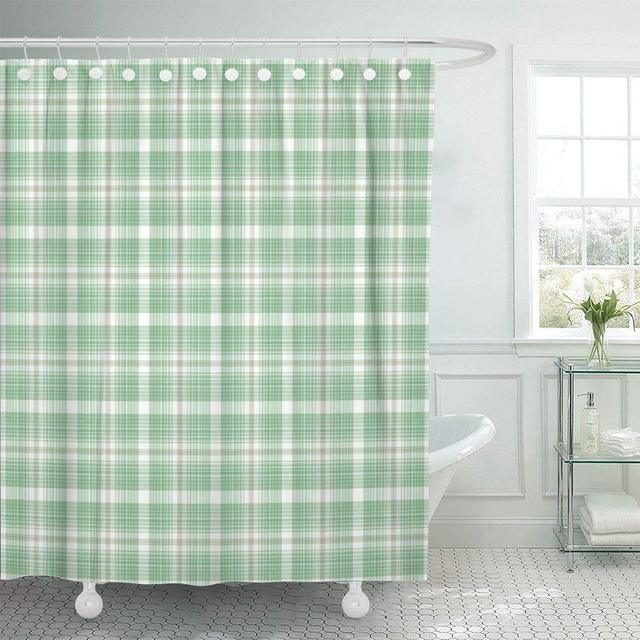 Fabric Shower Curtain Hooks Blue Summer Plaid Green Aqua Cabin Check Checkered Country Delicate Picnic Decorative Bathroom