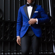 Latest Coat Pant Designs Royal Blue Velvet Men Suits for Wedding Suit Groom Tuxedo 2Piece Groomsmen Blazers Black Peaked Lapel