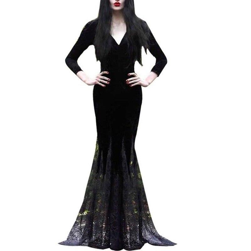 Vintage Gothic Sexy Women Black Slim Mermaid Lace Dress Halloween Evening Party Formal Occasion Long Maxi dress Punk Vestidos