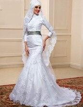Muslim Mermaid Wedding Dresses 2016 With Hijab Long Sleeve Lebanon Arabic High Neck Bride Bridal Gowns Long vestidos de noiva kk