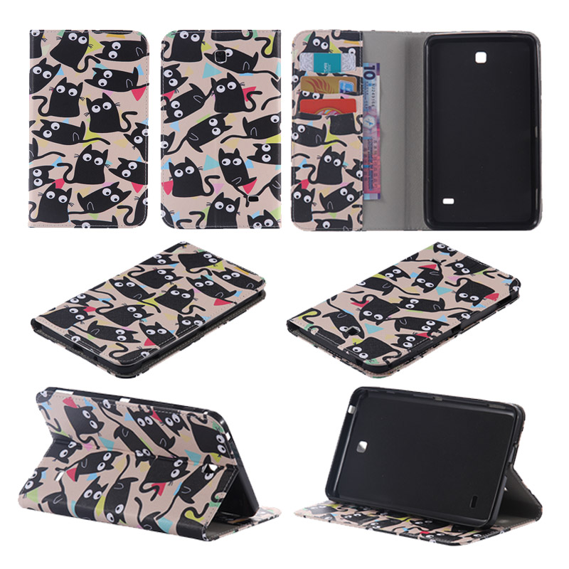 Cover For Samsung Galaxy Tab 4 7.0 SM-T230 SM-T231 T235 tablet Cases PU Leather Flip Stand Case For samsung T230 w/Card Holder
